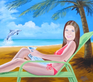 "20""x23"" acrylic painting of young lady lounging at the beach"